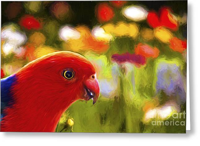 King Parrot With Flowers Greeting Card