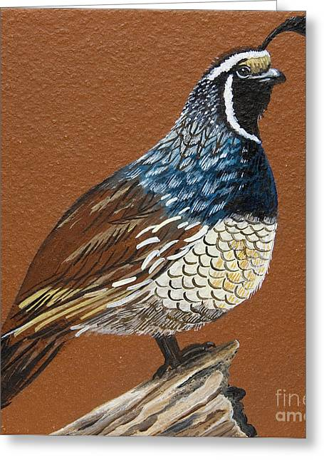 Greeting Card featuring the painting King Quail by Jennifer Lake
