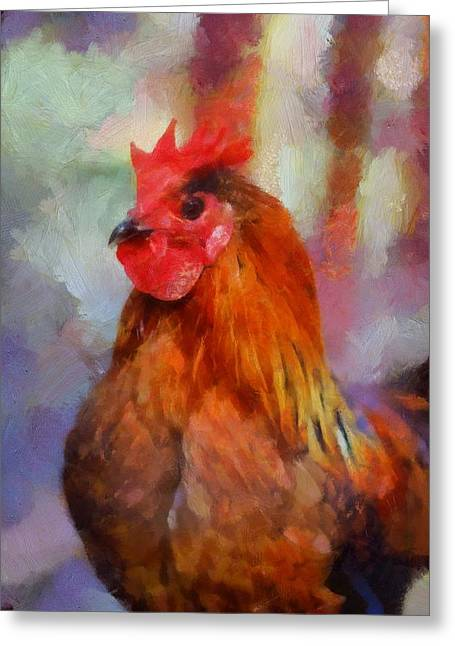 Greeting Card featuring the painting King Rooster by Kai Saarto