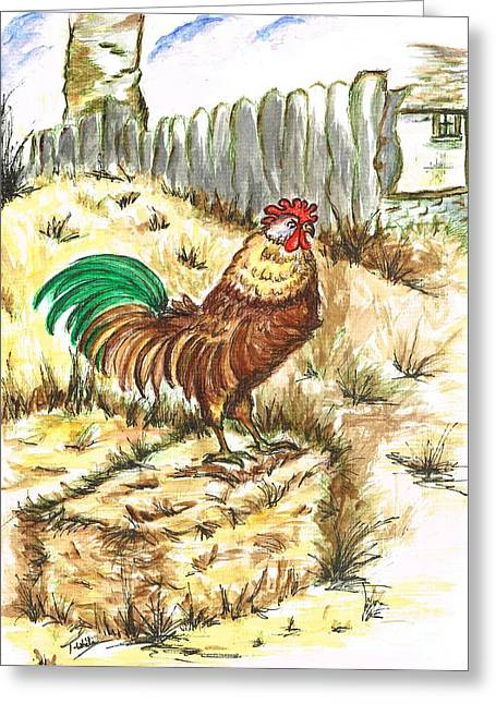 King Rooster Greeting Card by Teresa White