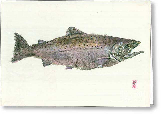 King Salmon Gyotaku Greeting Card by Julia Tinker