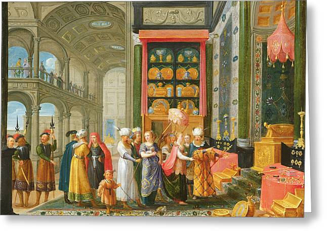 King Solomon And The Queen Of Sheba Oil On Copper Greeting Card by Adriaen van Stalbemt