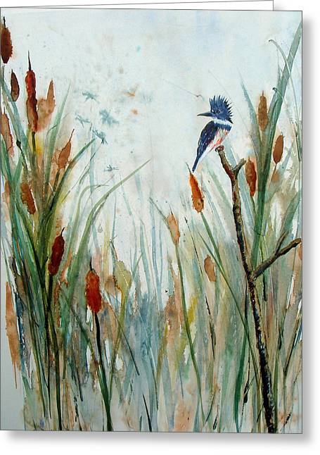 Kingfisher Dragonflies And Cattails Greeting Card