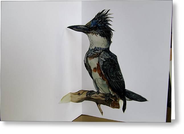 Kingfisher Pop Up Card Greeting Card by Alfred Ng