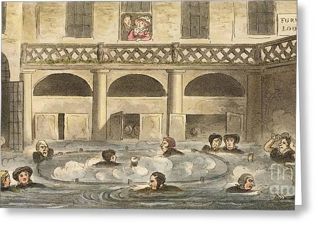 King's Bath Hot Spring At Bath, 1820s Greeting Card by British Library