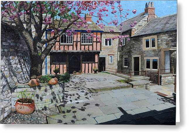 Kings Court, Bakewell, Derbyshire, 2009 Oil On Canvas Greeting Card by Trevor Neal