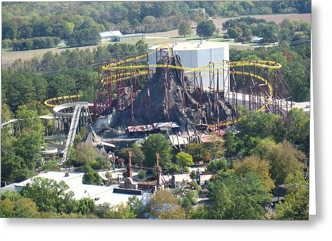 Kings Dominion - Volcano - 12122 Greeting Card by DC Photographer