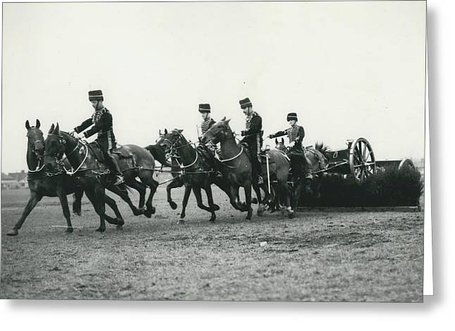King�s Troop Of The R.h.a. Rehearse�. Even The Gun Goes Greeting Card by Retro Images Archive