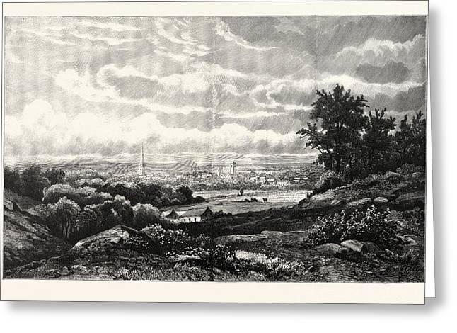 Kingston, New York. Kingston Is A City In And The County Greeting Card by Kruseman Van Elten, American School