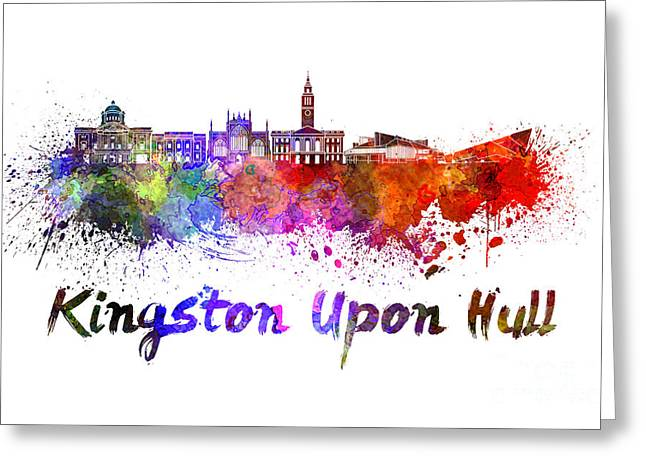 Kingston Upon Hull Skyline In Watercolor Greeting Card by Pablo Romero