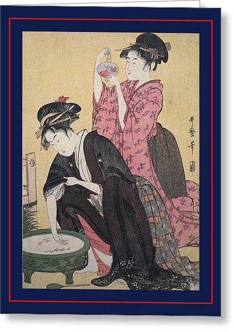 Kingyo = Goldfish, Kitagawa, Utamaro 1753-1806 Greeting Card by Artokoloro