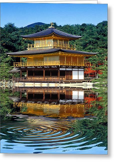 Kinkakuji Gold Pavilion Reflection Greeting Card by Robert Jensen