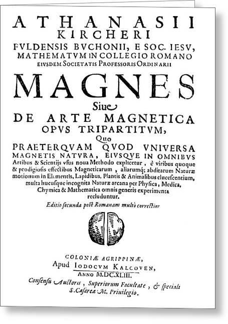 Kircher's Book On Magnetism Greeting Card