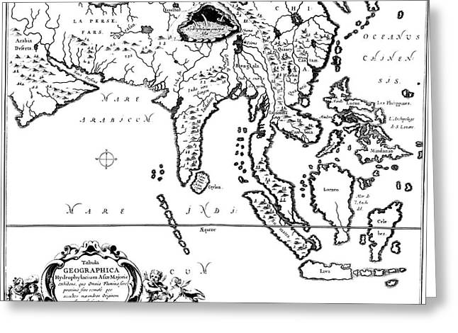 Kircher's Map Of Asia Greeting Card