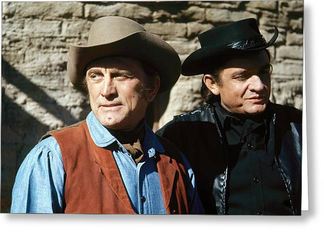Greeting Card featuring the photograph Kirk Douglas Johnny Cash A Gunfight  Old Tucson Arizona 1971 by David Lee Guss