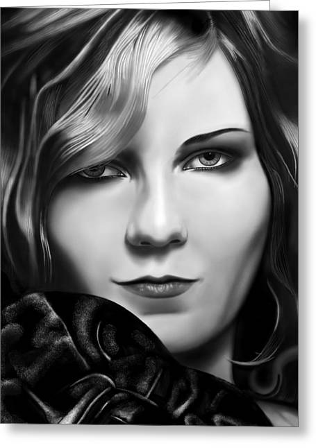 Kirsten Dunst Greeting Card by Andrew Harrison