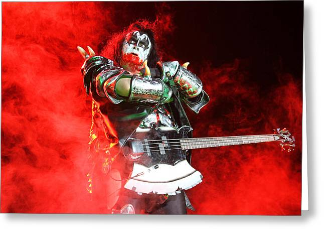 Kiss - 40th Anniversary Tour Live - Bloody Simmons Greeting Card by Epic Rights