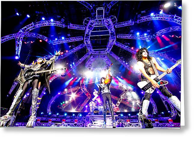 Kiss - 40th Anniversary Tour Live - Simmons, Stanley, And Thayer Greeting Card by Epic Rights