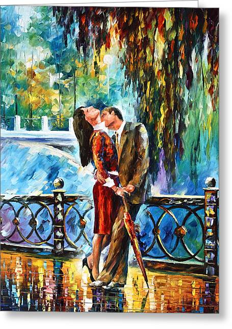 Kiss After The Rain New Greeting Card by Leonid Afremov