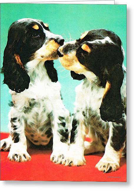 Kiss Me - Cocker Spaniel Art By Sharon Cummings Greeting Card
