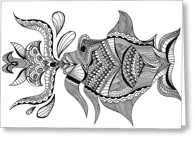 Kiss Me Don't Fish Me Greeting Card by Audrey Miller