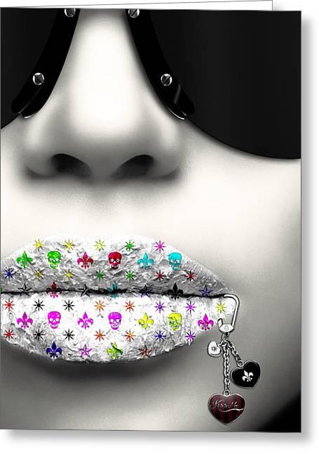 Kiss Me Silver Greeting Card