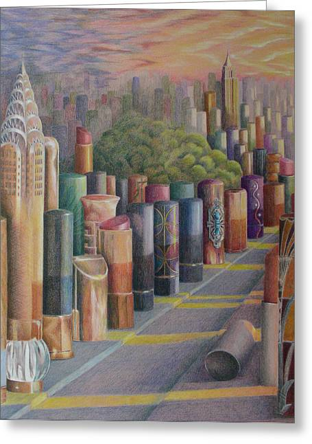 Kiss Of New York Greeting Card by Mary Jo Jung