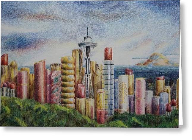 Kiss Of Seattle Greeting Card by Mary Jo Jung