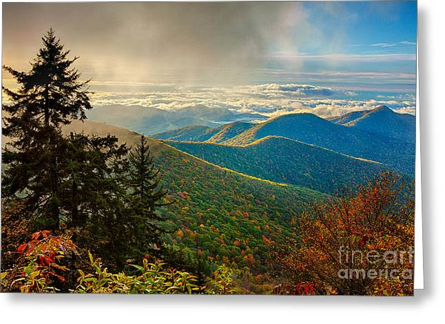 Kiss Of Sunshine - Blue Ridge Mountains I Greeting Card