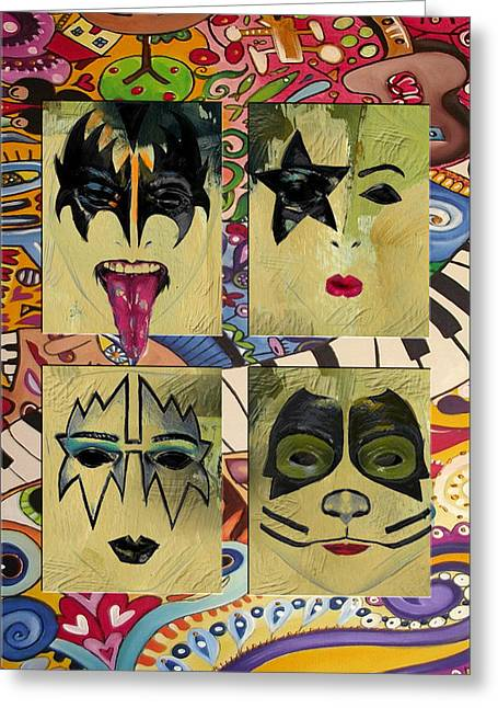 Kiss The Band Greeting Card by Corporate Art Task Force