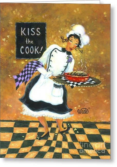 Kiss The Cook Greeting Card by Vickie Wade