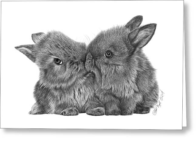 Kissing Bunnies - 035 Greeting Card by Abbey Noelle