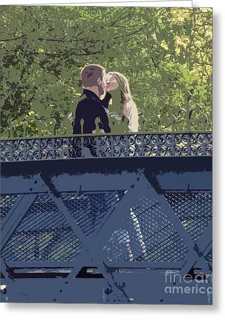 Kissing On A Bridge Greeting Card
