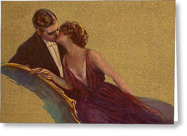 Kissing On The Chaise-longue Valentine Greeting Card