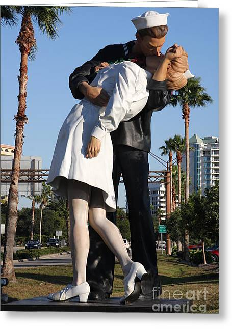 Kissing Sailor - The Kiss - Sarasota Greeting Card by Christiane Schulze Art And Photography