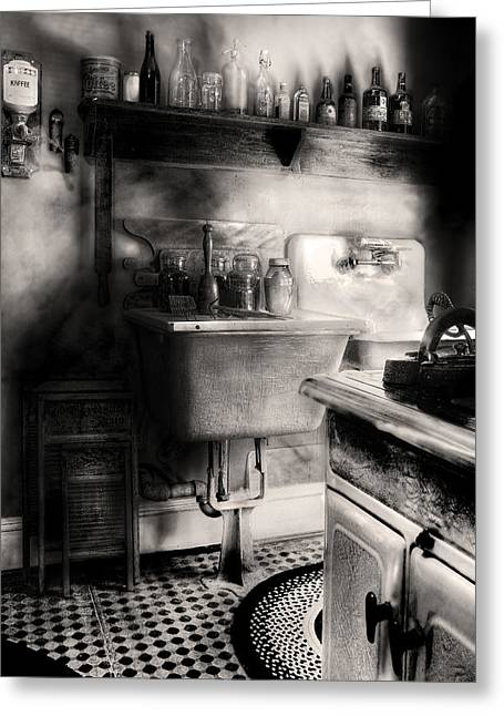 Kitchen - An Old Kitchen Greeting Card by Mike Savad