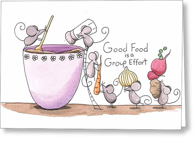 Kitchen Art Cooking Mice Greeting Card by Christy Beckwith