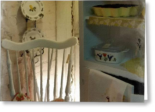 Kitchen Chair Greeting Card by Bonnie Bruno