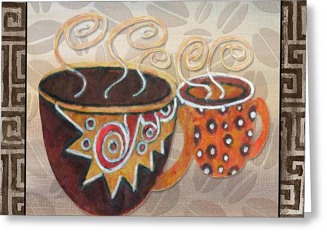 Kitchen Cuisine Hot Cuppa Latte V2by Romi And Megan Greeting Card by Megan Duncanson