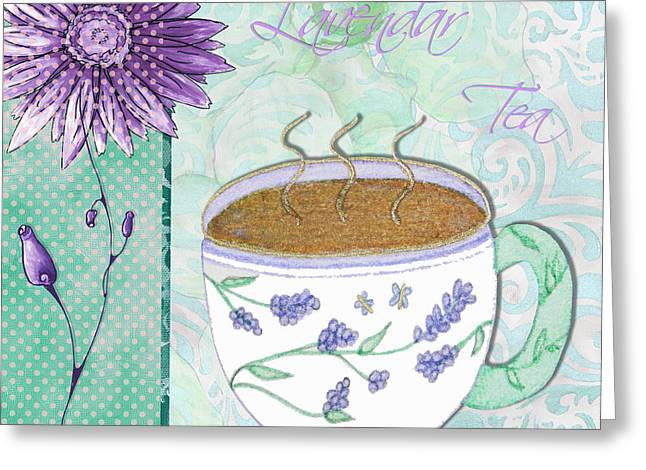 Kitchen Cuisine Hot Cuppa No80 By Romi And Megan Greeting Card by Megan Duncanson