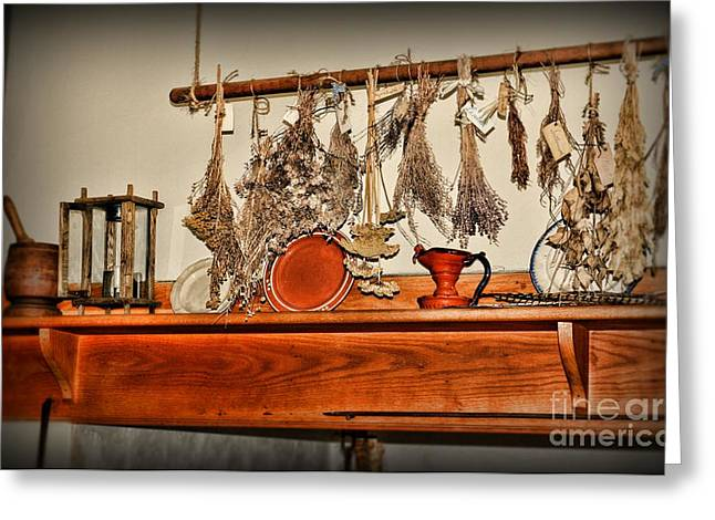 Kitchen - Herbs Drying Over The Mantel Greeting Card by Paul Ward
