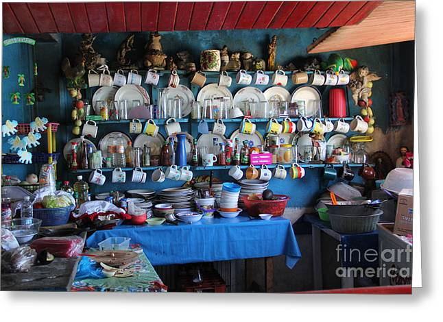 Kitchen Las Conchitas Mexico Greeting Card by Linda Queally