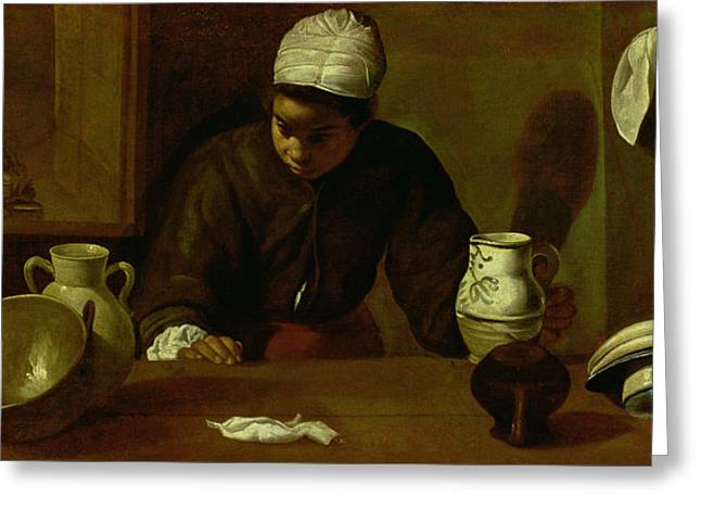 Kitchen Maid With The Supper At Emmaus, C.1618 Oil On Canvas Greeting Card by Diego Rodriguez de Silva y Velazquez