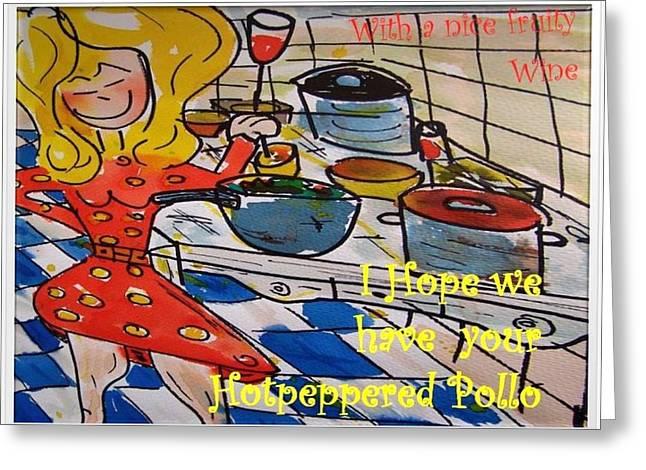 Pollo Kitchen Princess Greeting Card by Adriaan  Van Ravesteijn