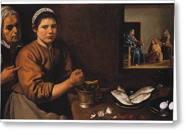 Kitchen Scene With Christ In The House Of Martha And Mary Greeting Card by Diego Velazquez