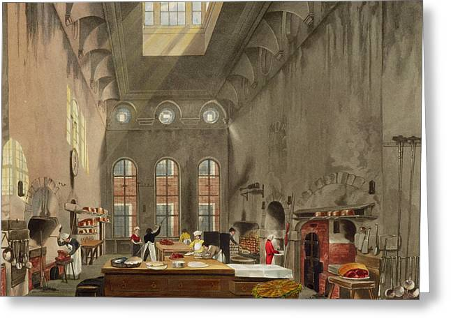 Kitchen, St. Jamess Palace, Engraved Greeting Card by James Stephanoff