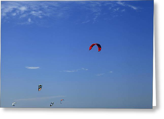 Kite Board Canopies And Blue Sky Greeting Card