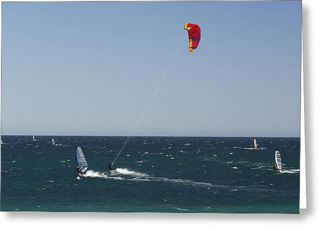 Kite Boarding Greeting Card by Christian Heeb