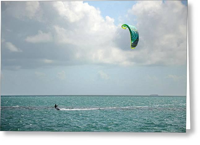 Kite Boarding On Key Biscayne Greeting Card by Tony Ambrosio