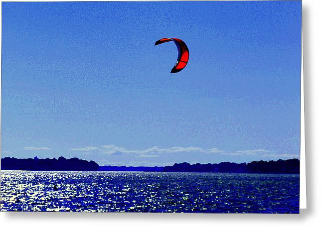 Kite Boarding The Wind Swept Waters Of The St Lawrence Quebec Seascape Scenes Carole Spandau Greeting Card